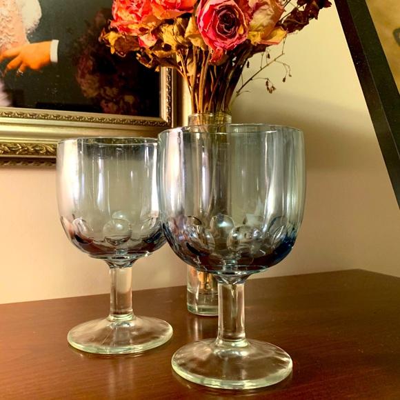 Iridescent blue carnival - 1960s goblets (2)